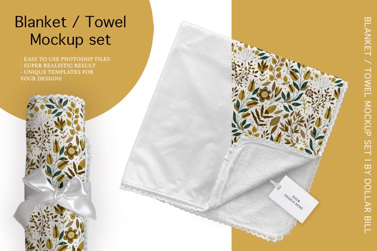 Blanket / Towel Mockup Set. example image 1