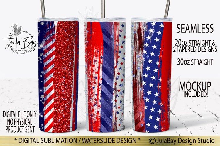 4th of July Brush Stroke Skinny Tumbler Sublimation Design Rustic Colorful Grunge Patriotic Skinny Tumbler Full Wrap Red White Blue