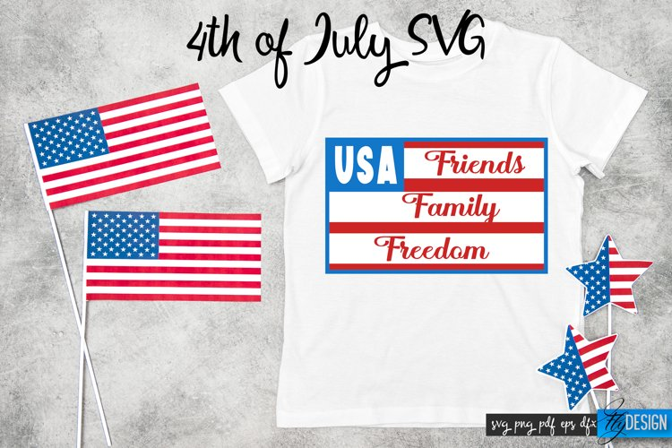 Happy 4th of July SVG. Friends Family Freedom. Quotes SVG