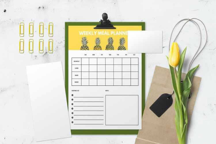 4 Fruit Themed Weekly Meal Planner Canva Templates example 1