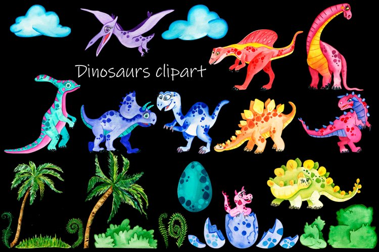 Baby Cute Dinosaurs Watercolor Clipart - Free Design of The Week Design1