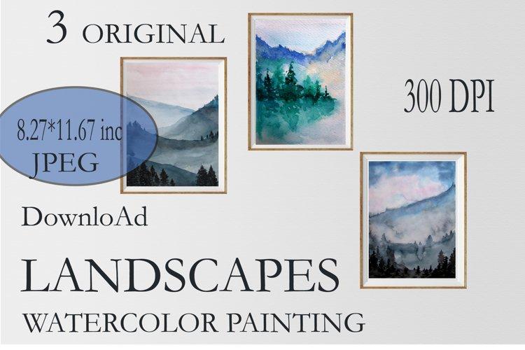 Landscapes. 3 original watercolor paintings
