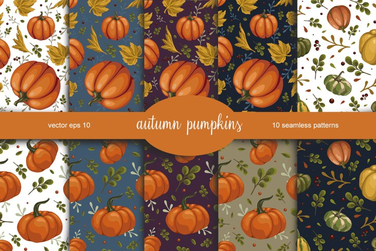 set of autumn seamless patterns with pumpkins example image 1