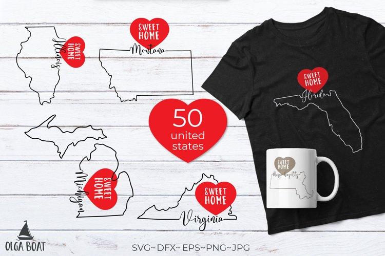50 states svg bundle State outlines United states svg USA