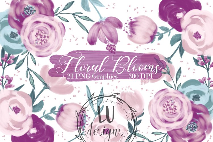 Burgundy and Pink Flowers Clipart, Floral Wedding Bouquets example image 1
