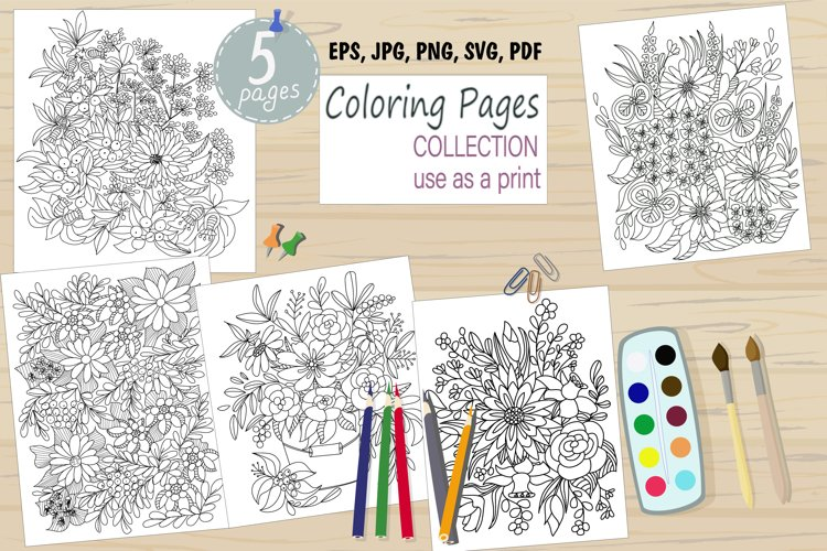 Flower coloring pages example image 1