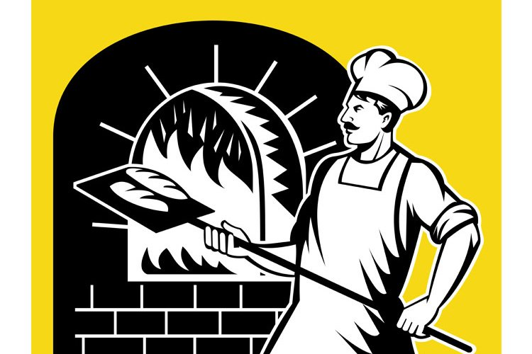 Baker holding baking pan into wood oven example image 1