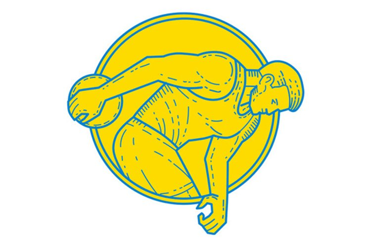 Discus Throw Athlete Side Circle Mono Line example image 1