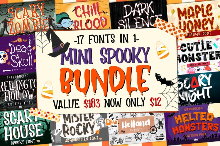 Mini Spooky Halloween Font Bundle!!