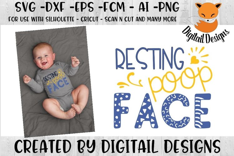 Baby Resting Poop Face SVG Cut File example image 1
