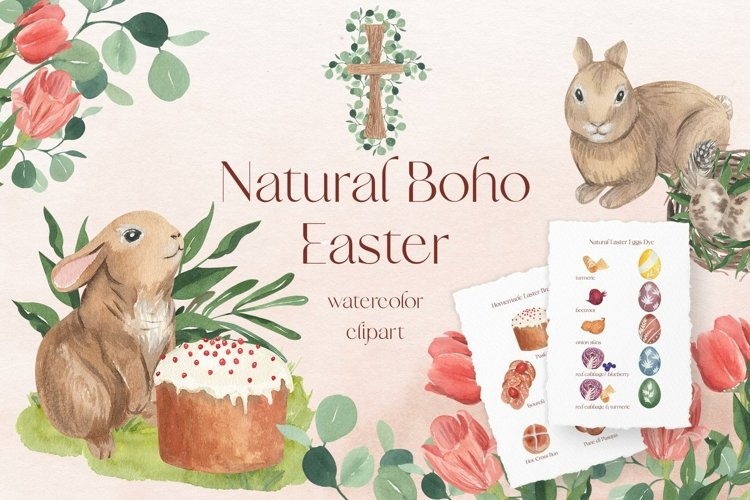 Natural Rustic Boho Easter Watercolor Clipart