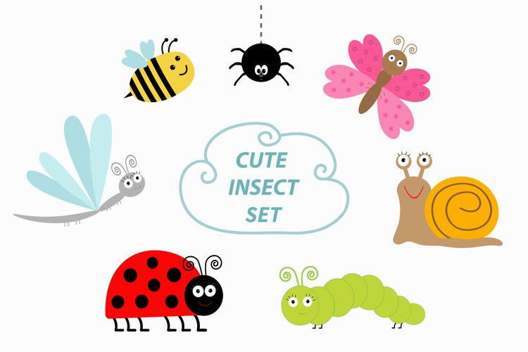 Cute cartoon insect set. Vector example image 1