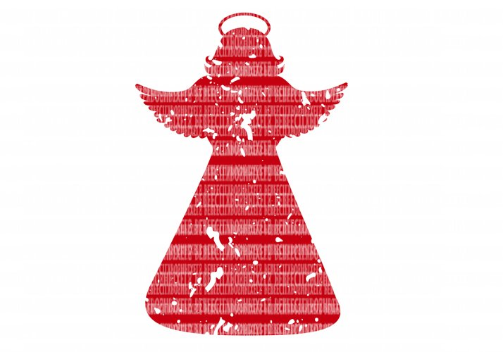 Christmas Angel Distressed SVG Files Cut Files Heat Transfer Vinyl Scrapbooking Stencil EPS DXF Silhouette Cameo Cricut Commercial Use example image 1