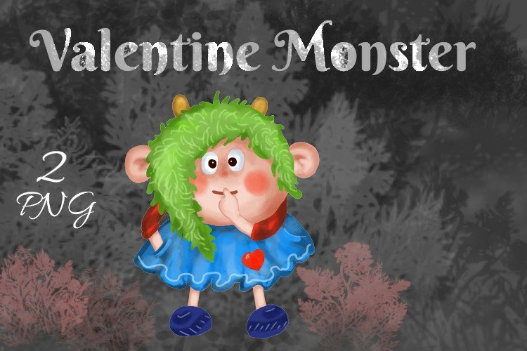 Valentine's Monster in Love Sticker, PNG example image 1