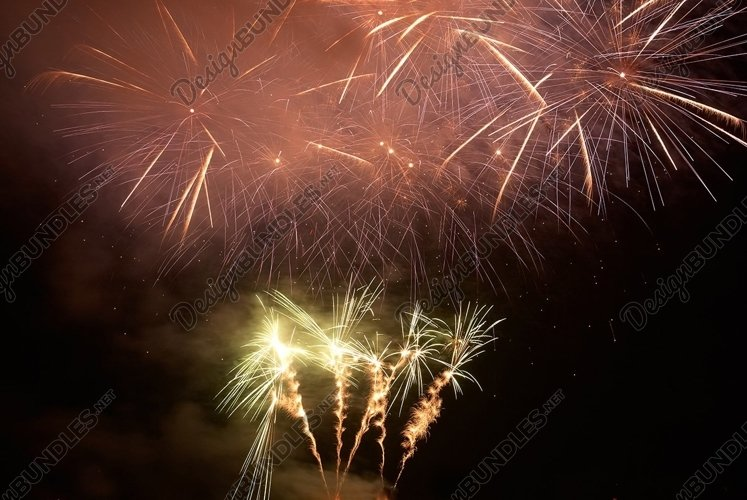 Red colorful holiday fireworks on the black sky background. example image 1