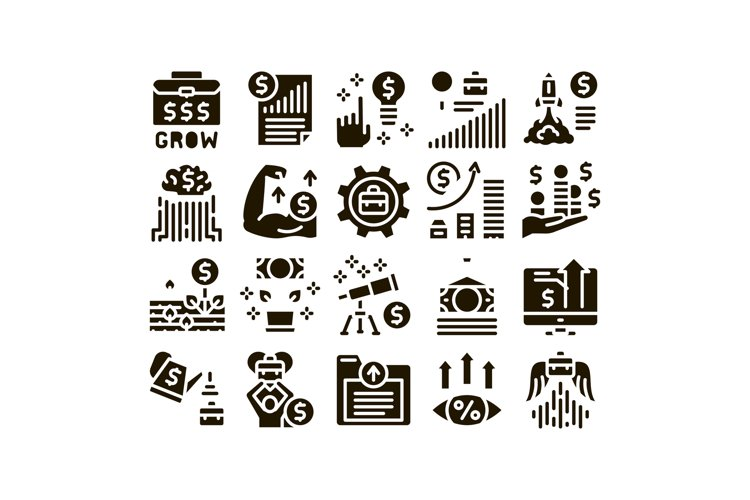 Business Growth And Management Icons Set Vector example image 1