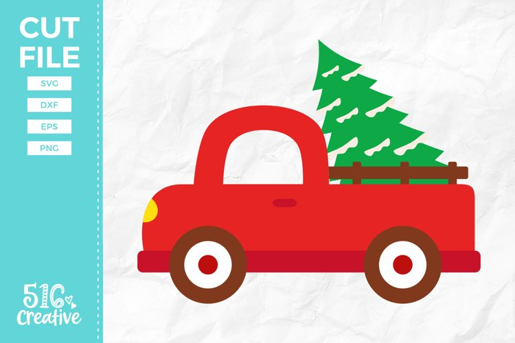 Christmas Truck SVG DXF EPS PNG example image 1