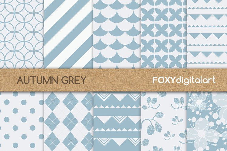Digital paper flower grey and white wedding invite scrapbook example image 1