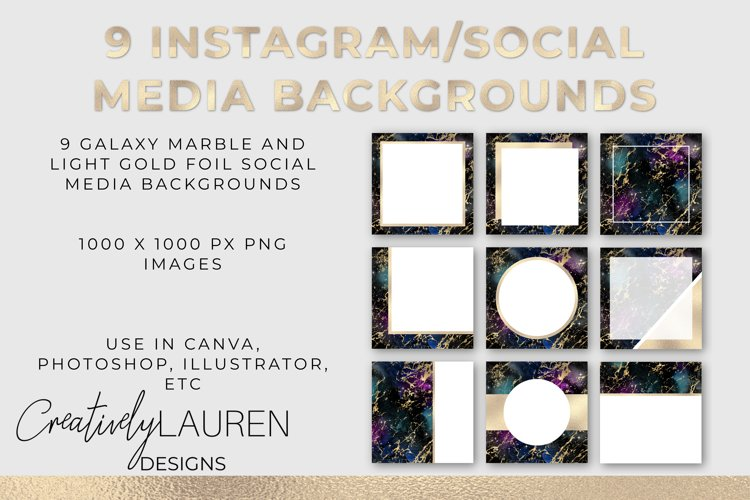 Galaxy Marble and Light Gold Foil Instagram Templates example image 1