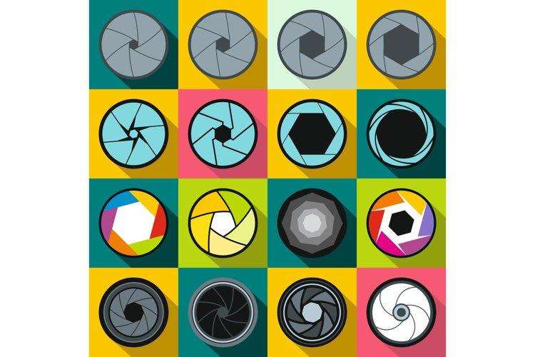 Camera shutter icons set, flat style example image 1