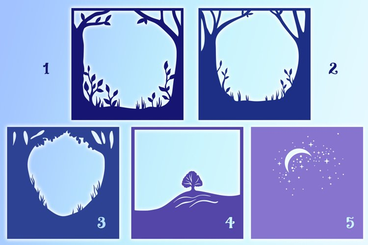 Forest Night Light Box - 5 layers example 2