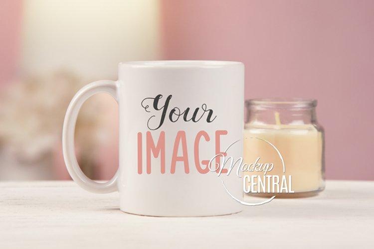 Pretty Home Coffee Glass Mug Cup Mockup on Desk, JPG