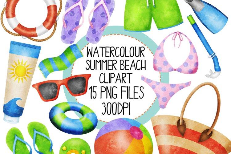 Watercolor Summer Beach Clip Art Set 2 example image 1