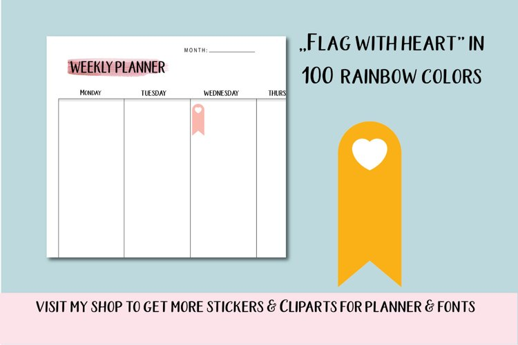 100 Banners flag with heart clipart, Banners Scrapbooking example image 1