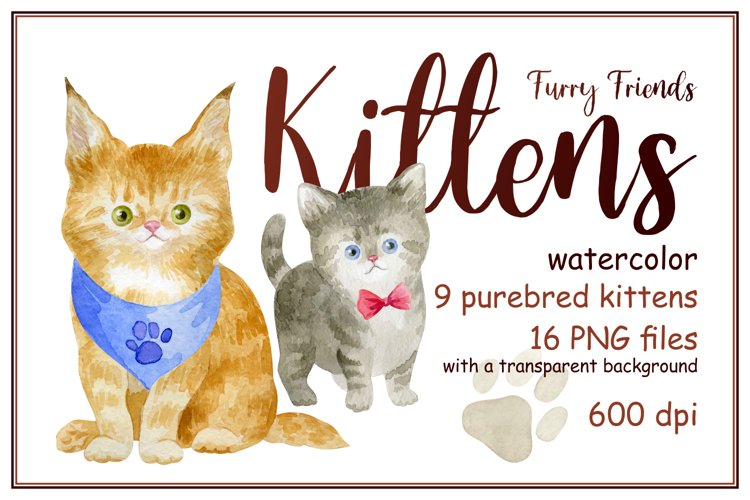 Furry friends. Kittens. Watercolor clip arts example image 1