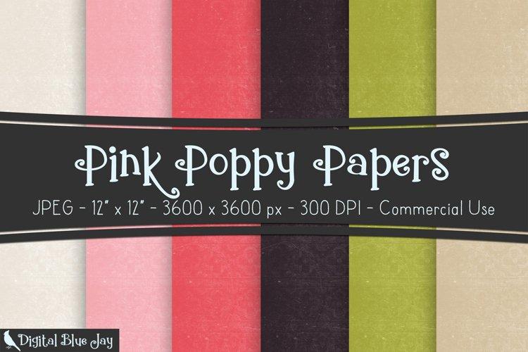 Digital Scrapbook Paper Backgrounds - Pink Poppy