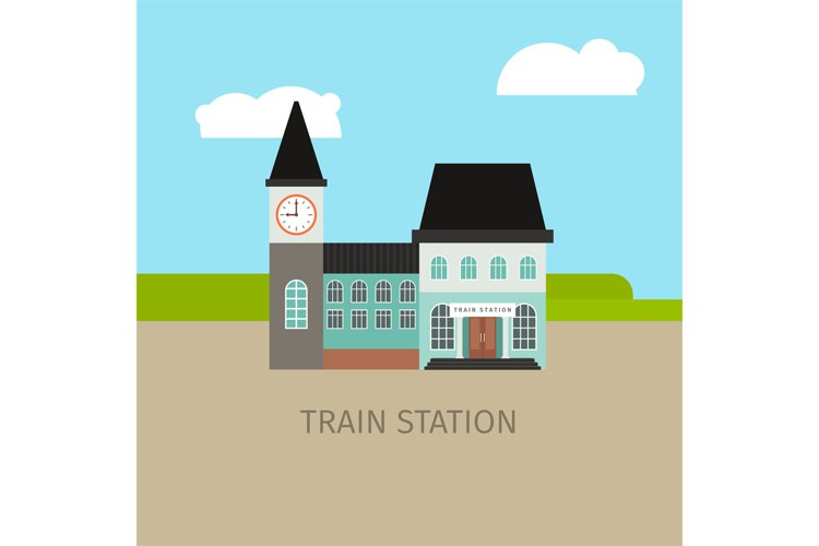 Colored train station building example image 1