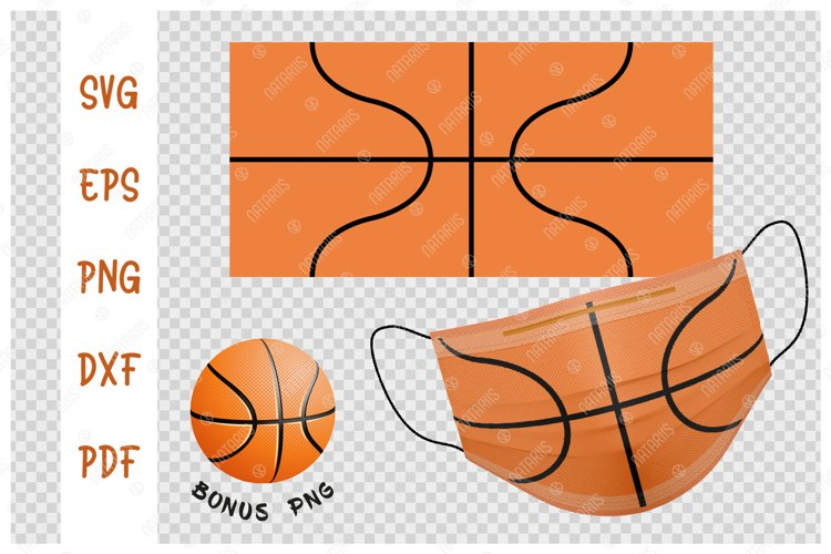 SVG Basketball ball background design for face mask. example image 1