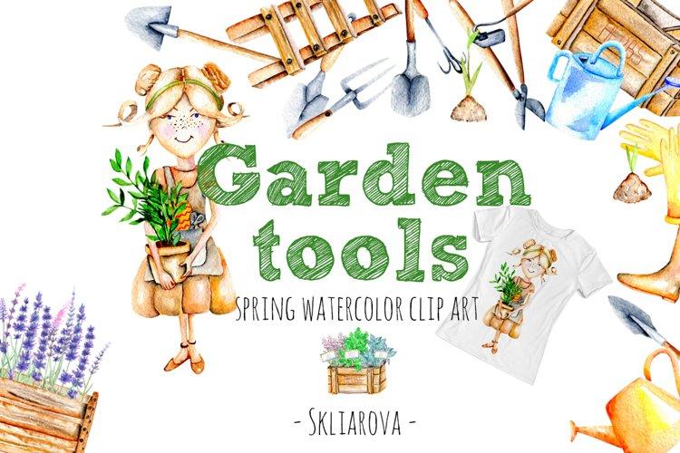 Garden tools Watercolor clip art example image 1