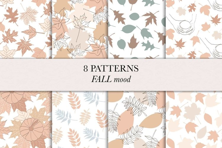 Fall / Autumn / Leaves / Pumpkins / Seamless pattern /Vector example image 1