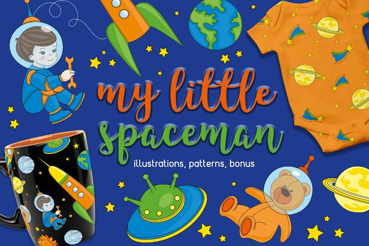LITTLE SPACEMAN Vector Illustration Seamless Pattern Set example image 1