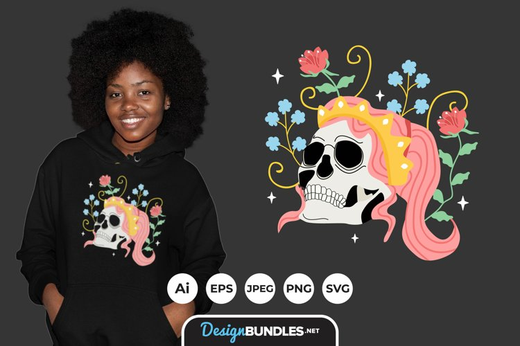Skull queen for T-Shirt Design example image 1