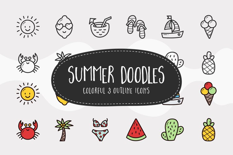 Summer Doodle Icons - Colorful & Outline example image 1