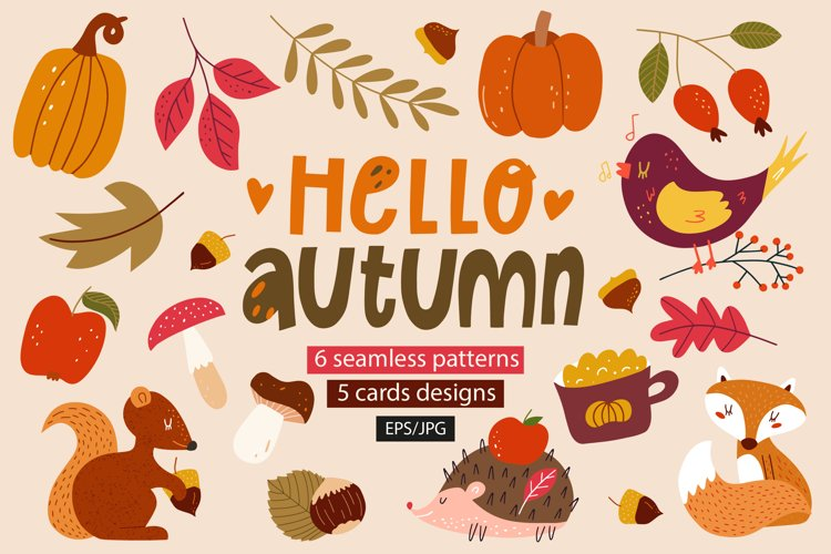 Autumn clipart. Abstract Shapes. Abstract cartoon pattern. example image 1