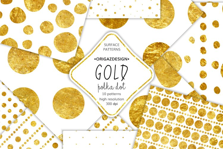 Gold foil Polka dot Seamless Pattern example image 1