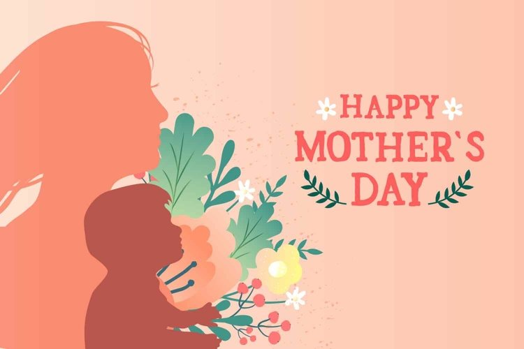 Mother with child and flowers. Mother's day card example image 1