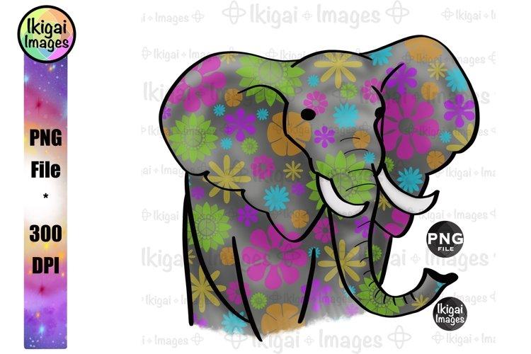 Flower Power Elephant, Groovy Hippie Animal PNG