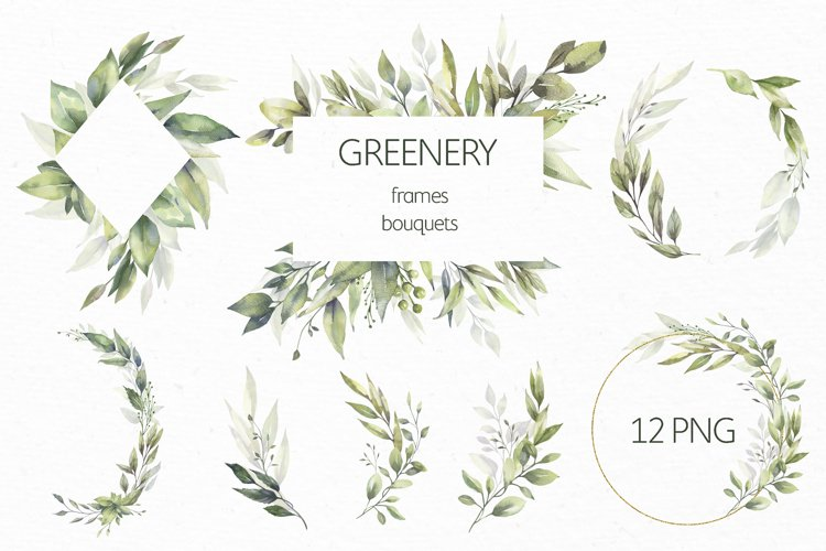 Watercolor Greenery Wreath Clipart. example image 1