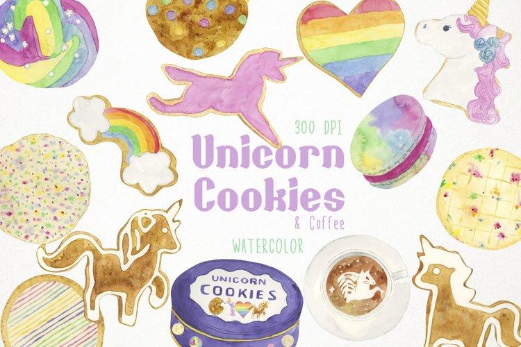 Watercolor Cookies Clipart, Unicorn Cookies Clip Art