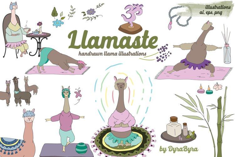 Llamaste - Llama Clipart - Yoga, Namaste Vector Illustration example image 1