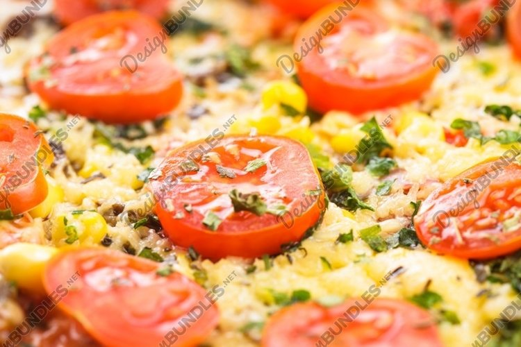 Pizza with cherry tomatoes example image 1