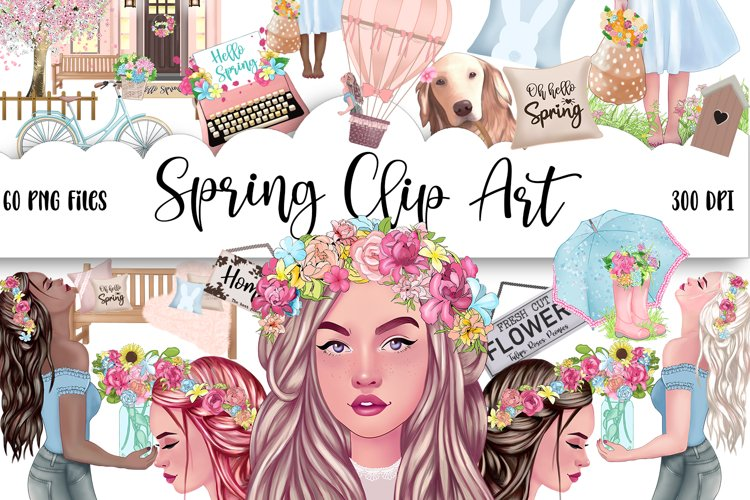 SPRING Clipart Planner FASHION Girl Clipart | Floral Planner example image 1