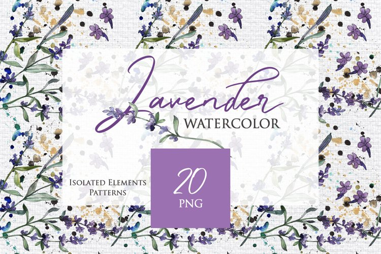 Watercolor Lavender PNG collection example image 1