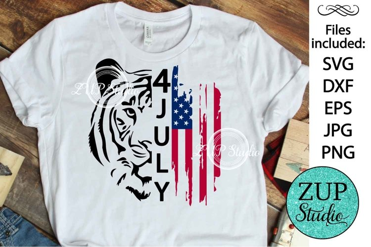 Tiger with Flag Design Digital Cutting files 504 example image 1
