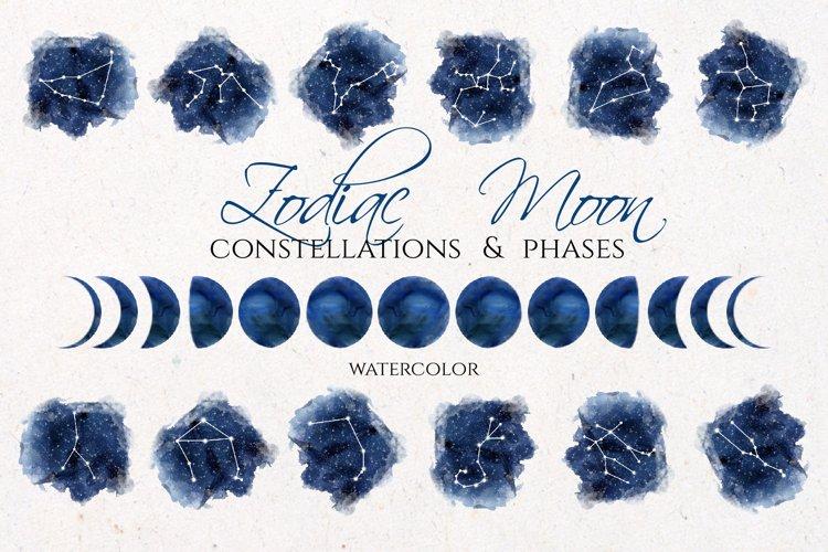 Watercolor Zodiac & Blue Moon Clipart