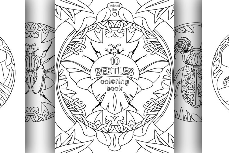 10 beetles animals in one coloring book, in two versions example image 1